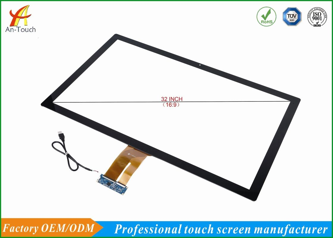 High End 32 Touch Screen Display With I2C / USB Interface , Anti - Interference Ability